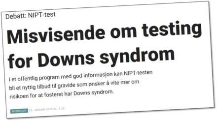 Misvisende om testing for Downs syndrom